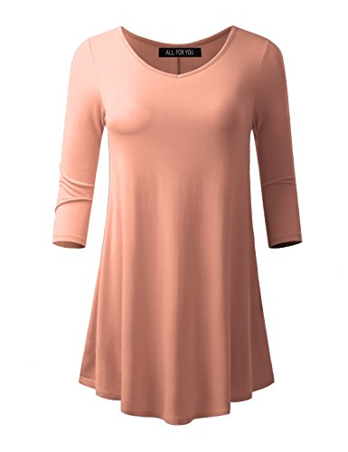 ALL FOR YOU Women's 3/4 Sleeve V-neck Flare - Peach Tunic Top