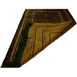 Best Quality Velvet Square Pattern Islamic Prayer Rug Janamaz Sajjadah Muslim Namaz Seccade Turkish Prayer Rug (Olive Green)