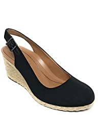 Vionic Women's Aruba Coralina Slingback Wedge - Espadrille Wedges with Concealed Orthotic Arch Support Black