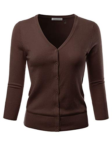 EIMIN Women's 3/4 Sleeve V-Neck Button Down Stretch Knit Cardigan Sweater Brown 2XL -