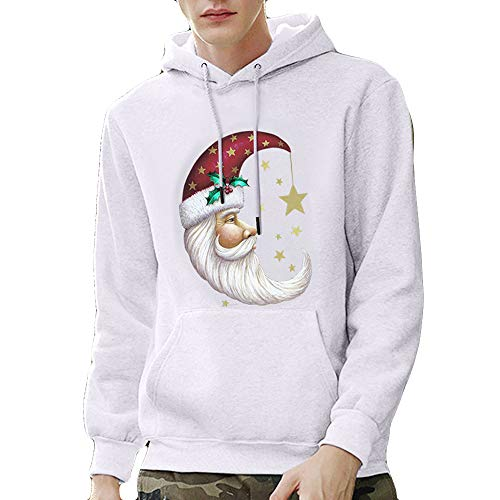 Mens Hipster Christmas Printed Pullover Long Sleeve Hooded Sweatshirt Tops