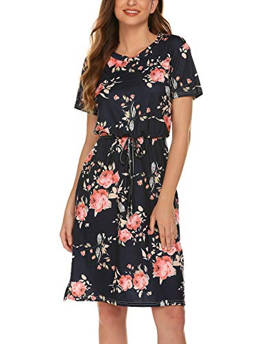 (AKEWEI Pockets Dress for Women Summer Floral Printed Knee Length Dress with Belt Navy Blue S)
