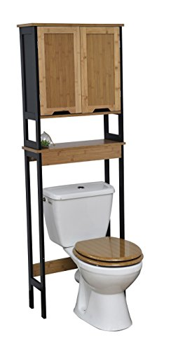 "Evideco  Free Standing Phuket Over The Toilet Space Saver Cabinet Black/Brown/Bamboo - Features 2 bamboo finish painted doors with one shelf inside + one open shelf which provide an elegant addition to any bathroom with easy storage capacities Dimensions are 69""H x 22.5""L x 8.5""W / 173 H x 57 L x 21.5 W cm, made of bamboo and wood, color black and bamboo Complete your decoration with other products of the collection Phuket like under sink cabinet, freestanding bath cabinet or tower linen unit - shelves-cabinets, bathroom-fixtures-hardware, bathroom - 41XQ0bOjYRL -"