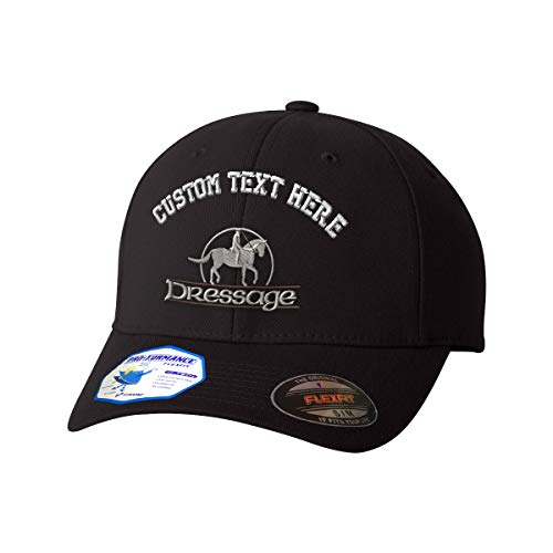 a90a7982b5e Custom Text Embroidered Dressage Unisex Adult Elastic Polyester Spandex  Flexfit Pro-Formance Hat Baseball Cap - Black