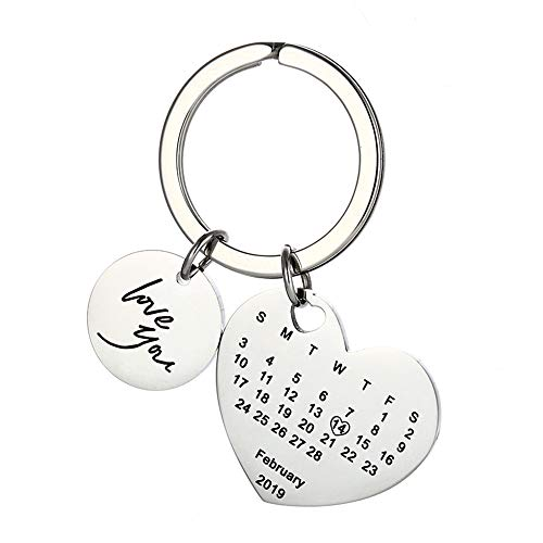 Custom Heart Key Chain Personalized Special Date Calendar Stainless Steel Keychain with Birthstone for Couples Family Best Friends Anniversary Gift Come with Gift Box (Silver Heart 2)