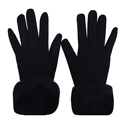 Fur Cuff Gloves - YAOSEN Women Winter Warm Knitted Gloves Imitation Cashmere Gloves with Fur Cuff (Black)