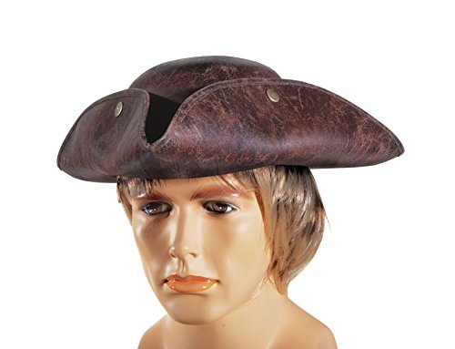 Loftus International Leatherette Pirate Tri-Corner Explorer Costume Hat, Brown, One Size -