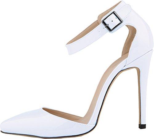 Salabobo Womens All Match Sexy Fashion OL Work Dress Pionted-toe Stiletto PU Pumps White iHHQgJ