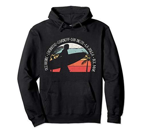 (San Diego Retro Look Surfing Design Gift Idea Pullover Hoodie)