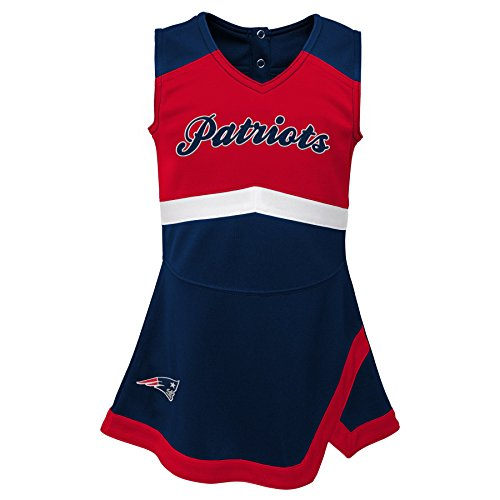 NFL by Outerstuff NFL New England Patriots Kids & Youth Girls Cheer Captain Jumper Dress Dark Navy, Youth Small(7-8) -