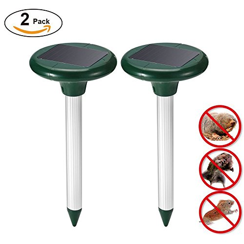 LANSONTECH (Pack of 2) Solar Mole Repeller Repel Mole, Voles, Gopher, Mice and Rats, Rodent Sonic Repeller Pest Control, (Solar Control Unit)