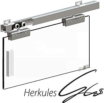 Para puerta corredera de cristal Hercules Gear para paneles de cristal 8-12 millimeter, 100 kg, Track - 2000 mm: Amazon.es: Bricolaje y herramientas
