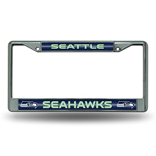 NFL Seattle Seahawks Bling Chrome License Plate Frame with Glitter Accent