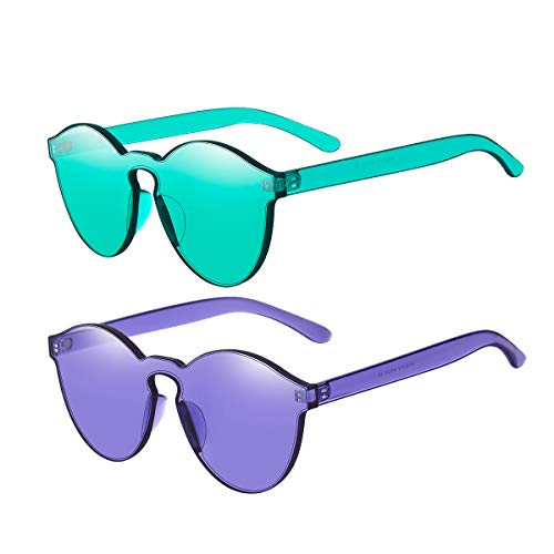 One Piece Rimless Sunglasses Transparent Candy Color Tinted Eyewear(Lake -
