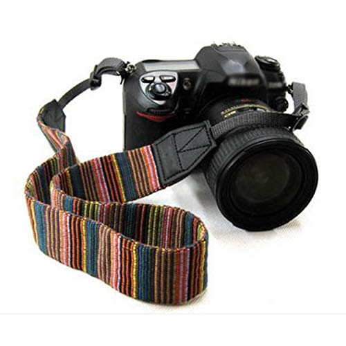Vintage Comfortable Camera Strap DSLR SLR Shoulder Neck Straps Soft Belt for Nikon Canon Sony Samsung Pentax Olympus Leica - Colorful Stripe Design ()