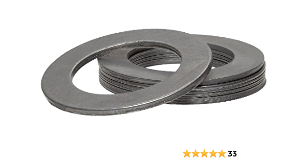 Hard Temper 1-5//8 OD 1-1//8 ID 1008//1010 Carbon Steel Notched Shim Assortment Varying Thicknesses Matte Finish Pack of 19 AISI 1008//AISI 1010