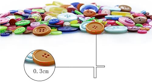 Round Craft Buttons for Sewing DIY Crafts 2500 Pcs Assorted Sizes Resin Buttons Childrens Manual Button Painting