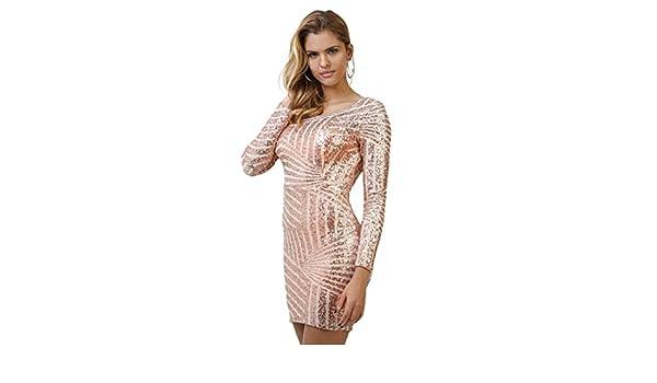 Infinie Passion - lentejuelas - vestido de fiesta rosa Dorado dorado: Amazon.es: Ropa y accesorios