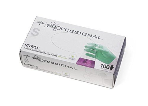 Medline PRO31761 Professional Exam Gloves with Aloe, Nitrile, Latex Free, Small, Green (Pack of 1000) by Medline