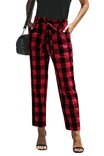 (Womens High Waisted Plaid Striped Palazzo Pants Casual Tie Waist Cropped Trouser with Pockets Red)