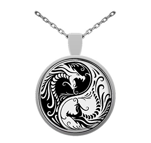 (Ying and Yang Dragon Pendant,1 Inch Round Glass Pendant)