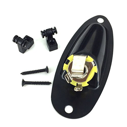 Greenten Black Loaded Jack Socket Plate and Roller String Trees String with Screws for Fender Strat SQ Replacement