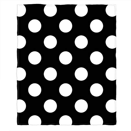 (Moslion Soft Cozy Throw Blanket Black White Polka Dot Modern Design Fuzzy Warm Couch/Bed Blanket for Adult/Youth Polyester 30 X 40 Inches(Home/Travel/Camping Applicable))