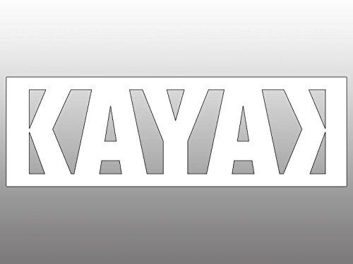 American Vinyl White Vinyl KAYAK w Backward K Sticker (no bg kayaking kayaker)