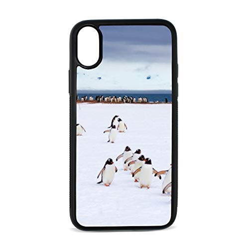 iPhone Penguin Cute Antarctic Snow Scene Animal Natural Tip Mouth Funny Digital Print TPU Pc Pearl Plate Cover Phone Hard Case Accessories Compatible with Protective Apple Iphonex/xs Case 5.8 Inch (Antarctic Expedition Cover)