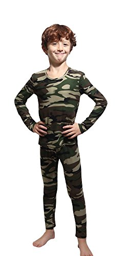 Outland Children's Thermal Set Lightweight Ultra Soft Fleece Interior, Camouflage 14-16