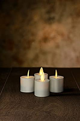 "Veraflame 1.5""H 4pc Flat Edge Tealight LED Moving Wick Candles, Creamy Ivory"
