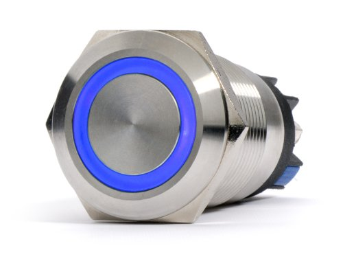 Price comparison product image Silver Metal Stainless Steel Blue LED Illuminated Momentary Pushbutton Switch 22mm