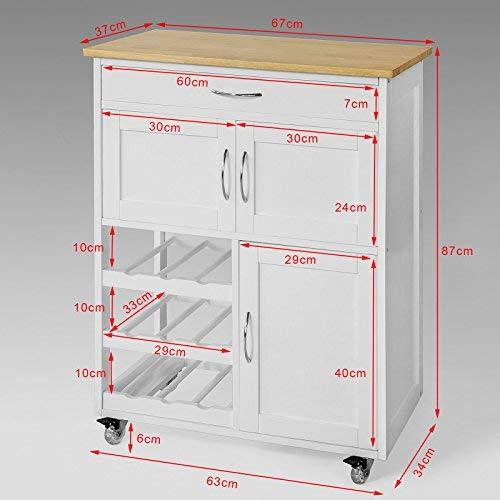 SoBuy FKW45-WN,Carrito de Cocina,estantería de Cocina,67x37x87cm,ES: Amazon.es: Hogar