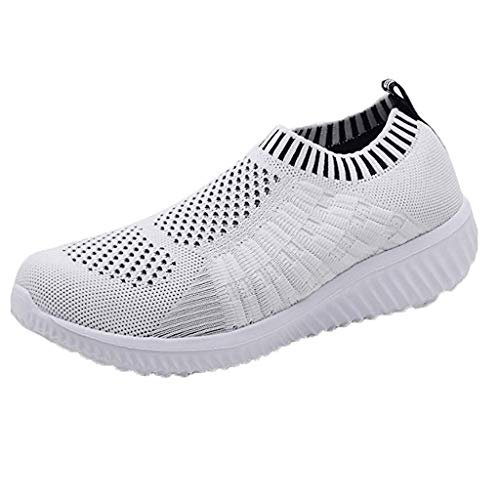 Women Solid Color Athletic Walking Shoes Casual Mesh-Comfortable Work Sneakers