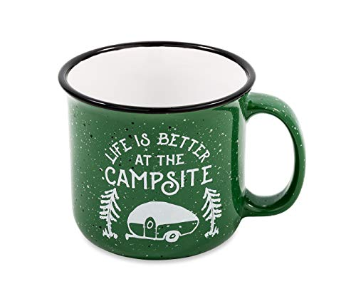 Camco Life is Better 14 oz. Speckled Mug-Perfect for Use at Home or at The Campsite-Microwave and Dishwasher Safe-Green (53355)