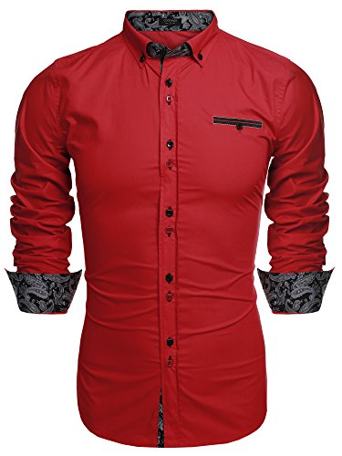 (Coofandy Men's Fashion Slim Fit Dress Shirt Casual Shirt,01-red,Small)
