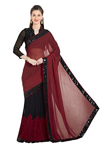 Viva N Diva Saree for Women's Embroidered & Stone Work Maroon Georgette Lehenga Saree,Free Size
