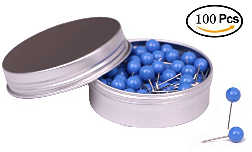 Round Head Map Tacks (Tupalizy 100PCS 1/4 Inch Small Round Head Map Tacks Pins for Home Office Bulletin Cork Board Use and DIY Craft Project (Blue))