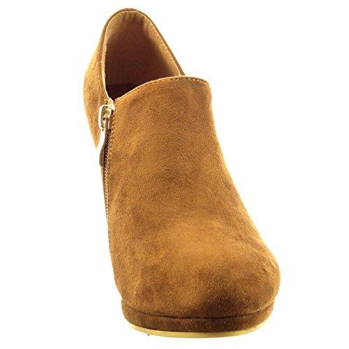 Sopily - Zapatillas de Moda Botines low boots Tobillo mujer Talón Tacón de aguja alto 6 CM - Camel
