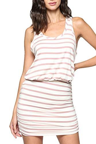 LaClef Women's Mini Ruched Tank Shift Dress (Ivory/Mauve Stripe, ()