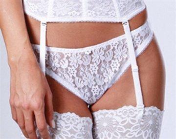 Dominique Lace Front Bikini Panty Style 549 - White - Small