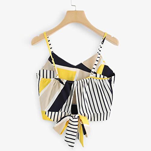Coedfa Women's Bow Tie Back V Neck Button Splice Stripe Crop Cami Top Camisole Blouse Yellow by Coedfa (Image #3)