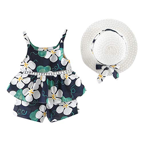 - TEVEQ Kids Girls Clothes Floral Fruit Strap Tops Shorts Outfits Hat Casual Set Blue