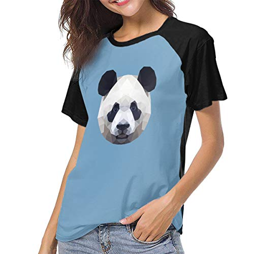 Designer Station Geometric Panda Women's Raglan Short Sleeve Crew Neck Baseball Tee Black]()