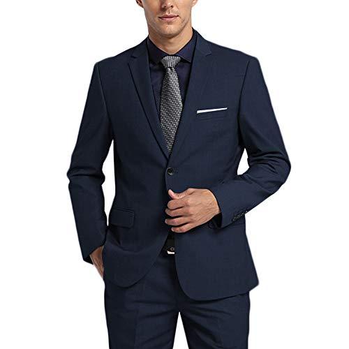 (WEEN CHARM Men's Suits One Button Slim Fit 2-Piece Suit Blazer Jacket Pants Set Navy Blue)