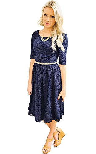 - 41XQ6n 2Bw7AL - Mikarose Haley A-Line Modest Lace Dress, Modest Semi-Formal or Bridesmaid Dress