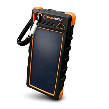 ToughTested Solar Charger – 16000mAh Portable Solar Powerbank With LED Flashlight - IP67 Dustproof/Shockproof/Rainproof - High Efficiency Solar Panel Smartphone Charger