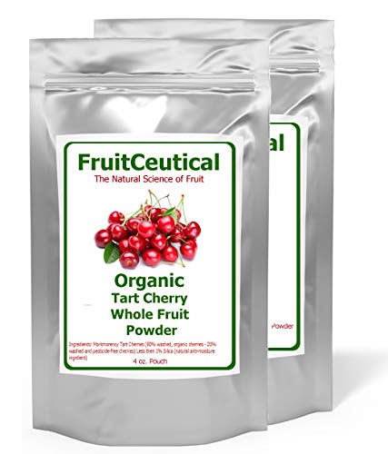 FruitCeuticals Organic Tart Cherry Whole Fruit Powder Not an Extract – Satisfaction Guaranteed – 2 Pouches