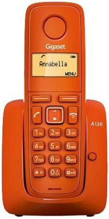 Gigaset A120 - Teléfono Inalámbrico, Agenda de 50 Contactos,, Pantalla Iluminada, Color Naranja