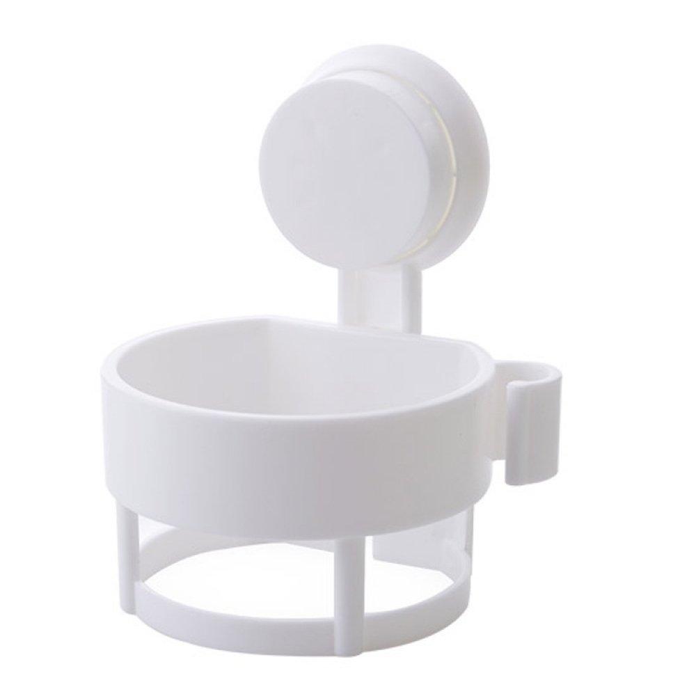 LUCKSTAR Hair Dryer Rack - Suction Cup Wall Mount Hair Blow Dryer Holder Shelf for Home / Hotel / Bathroom (White)